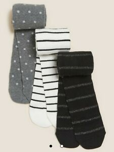 MARKS AND SPENCER GIRLS 3 pk Cotton Monochrome Tights SPARKLES  3-4 YRS BNWT