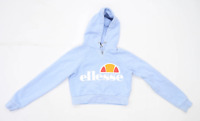 Ellesse Womens Size 6 Graphic Cotton Blend Blue Hoodie (Regular)