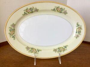"Vintage Japan China Oval Serving Platter ~ Yellow Rim, Gold Trim & Florals ~ 12"""