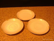 3 Noritake Nippon Light Yellow with Floral Gold Rim Saucers