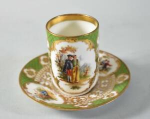 Antique Dresden Germany Porcelain Chocolate/Demitasse Cup & Saucer R. Klemm Rare