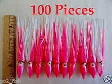 "10-100 Pcs 4.75/"" Hoochie Squid Skirts Pink//white Fishing Lures Select Pieces"