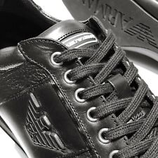 NEW Armani Black Men's Sneakers Sport Oxford Leather Shoes 11 44 Casual Fashion