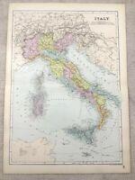 1891 Antik Map Of Italien Sardinien Corsica Sizilien Alte 19th Century Original