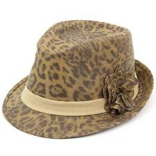 Womens Leopard Trilby Hat Animal Print Cheetah Flower Brim Band Cap 57cm a7f00f727ce0