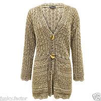 Women Ladies Knitted Plus Size CROCHET Boyfriend Button Shrug Cardigan Dress Top