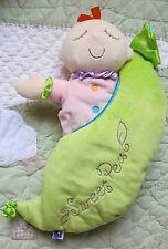 "Manhattan Toy Plush Green Sweet Pea Snuggle Pod Baby Doll Toy 13"" 2pc Set EUC"