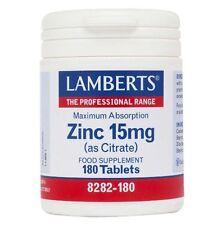 Lamberts Zinc 15mg (as Citrate) | Maximum Absorption, Food Supplement - 180 Tabs