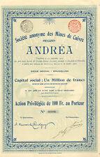 SA des Mines de Cuivre Andrea, accion, 1907 (Badajoz)