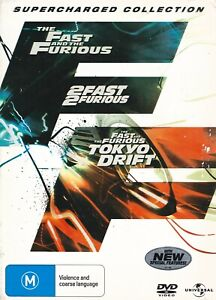The Fast And The Furious + 2Fast2Furious + Tokyo Drift (DVD, 2009, R2,4) UGC