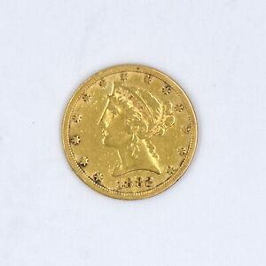 1882 $5 LIBERTY HEAD HALF EAGLE 90% GOLD COLLECTIBLE US COIN F-VF CONDITION