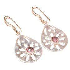 Pink Tourmaline Gemstone silver plated Handmade Filigree Dangle Drop Earrings