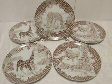 "5 WILD HABITAT Collectors 8"" Plates Leopards Zebras Giraffes Shafford"