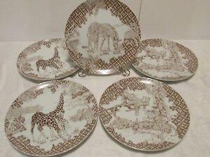 "5 WILD HABITAT PLATES Collectors 8"" Leopards Zebras Giraffes Shafford"