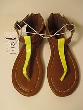 Nwt Girls Xhilaration 13 Camel Brown~Neon Yellow Holleen Sandals Shoes~Back Zip