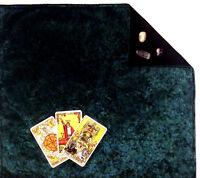 """Green Velvet Tarot Cloth Altar Cloth Fully lined 18""""x20"""" Runes Cloth SPClo SPVel"""