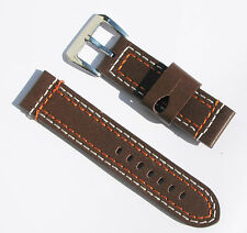 24mm Thick Leather Brown Multi-Thread(White & Orange) Watch Band - Size Regular