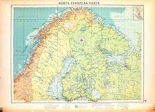 Carta nautica antica SVEZIA Sweden NORVEGIA FINLANDIA 1920 Old nautical map
