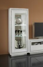 Prestige Crystal High Gloss White Diamante 1 Door Display Cabinet With Leds