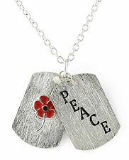 Remembrance Poppy Peace Dog Tag Pendant Combat Stress In White Jewellery Box