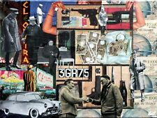 Collage rétro vintage sur chassis entoilé 40x30 cm - Banque de France
