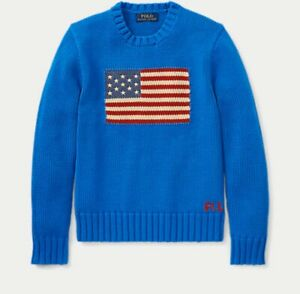 NWT Polo Ralph Lauren Boy's Crew Neck American USA Flag Sweater Size 7