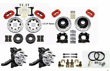 """Wilwood Brake Kit 1963-86 Chevy C10,12.19"""" Rotors,4 Piston Red Calipers,Spindles"""