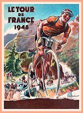 1948 Tour de France Bicycle Race Paris France Vintage Travel Art Poster Print