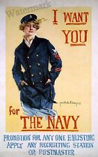 Wall Art / Photograph WWI  Navy Recruitment Poster 1918c 11x17