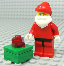 NEW Lego Christmas SANTA & GREEN PRESENT Minifig w/White Short Beard & Moustache