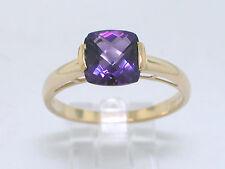 Amethyst Ring 585 Gelbgold 14Kt Gold mit natürlichem Amethyst im Kissenschliff