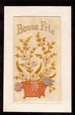 1913 silk embroidered bonne fete flower basket greetings france postcard