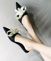 Womens Flats Pearls Bow Knot Pointed Toe Mules Slippers Fashion Shoes NEW B315
