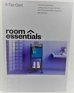 "ROOM ESSENTIALS Storage Cart OPEN BOX 32"" H 3-Tier Gray"