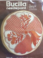 "BUCILLA Needlepoint Swirl 14"" Round Decorator Pillow KIT 4282 NOS retro floral"