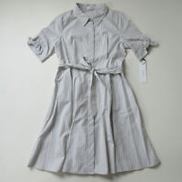 NWT Calvin Klein Cotton Shirt Dress in Beige White Stripe Button Down 2