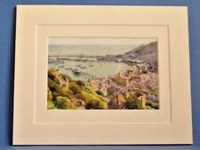 DOVER HARBOUR FROM THE CASTLE VINTAGE DOUBLE MOUNTED HASLEHUST PRINT c1920 10X8