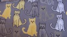 1/2 Yard Snuggle FLANNEL Yellow Gray White Chalk Drawn Cats on Gray BTHY