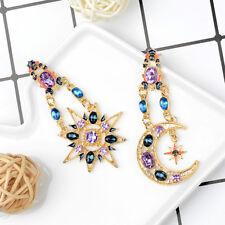 New Women Gold Star Sun God & Moon Crystal Rhinestone Stud Dangle Earrings
