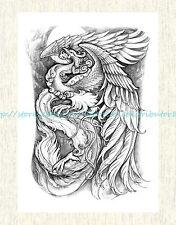 "US SELLER, Temp Tattoos for black phoenix 8.25""extra large temporary arm tattoo"