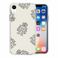 For Apple iPhone XR Silicone Case Robots Kids Grey - S1915