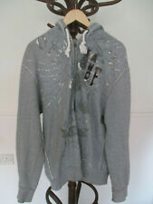 mens ABERCROMBIE & FITCH GREY COTTON ZIP FRONT HOODIE SIZE XL