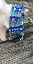 Fashion Bracelet Multi Shade Blue Glass Seed Beads Memory Wire Flower Accents