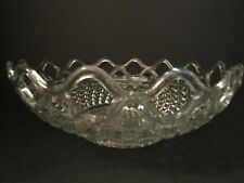 Vintage Imperial Glass Clear Bowl~Diamond Pattern with Open Lace Rim