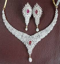 Like Real Simulated Cubic Diamond Ruby Wedding Necklace Earrings Set 530 0N 51