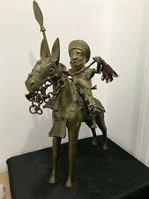 Antique African Benin Bronze Warrior with Spear on Horse Back - Work of Art