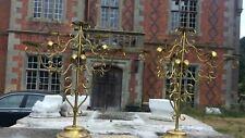 Pair Impressive Italian Gilt Metal Candelabras Wedding Centre Piece Stands
