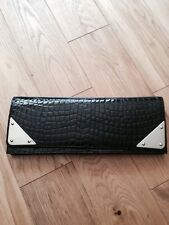 STUART WEITZMAN FOR RUSSELL & BROMLEY Black Mock Croc Clutch Bag