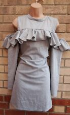 NEW LOOK GREY SOFT COTTON FRILL RUFFLE CUT OUT SHOULDER SLIP TUBE DRESS 14 L