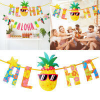 Hanging Banner Garland Bunting Hawaiian Tropical Pineapple Holiday Party Decor